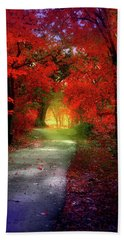 Through The Crimson Leaves To A Golden Beginning Bath Towel