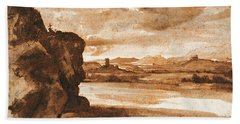 Tiber Landscape North Of Rome With Dark Cloudy Sky Hand Towel