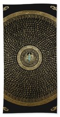 Tibetan Thangka - Green Tara Goddess Mandala With Mantra In Gold On Black Bath Towel