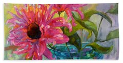Hand Towel featuring the painting Tickled Pink by Chris Brandley