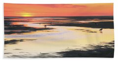 Tidal Flats At Sunset Hand Towel by Roupen  Baker