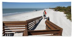 Tide Of Sand Over A Ramp On The Beach In Naples Florida Hand Towel