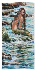 Bath Towel featuring the painting Tidepool by Linda Olsen