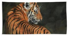 Hand Towel featuring the painting Tiger At Night by David Stribbling