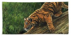 Bath Towel featuring the painting Tiger Descending Tree by David Stribbling