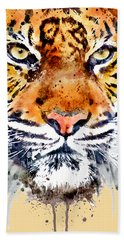 Bath Towel featuring the mixed media Tiger Face Close-up by Marian Voicu
