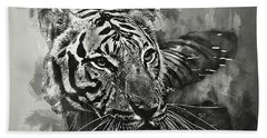 Hand Towel featuring the photograph Tiger Head Monochrome by Jack Torcello