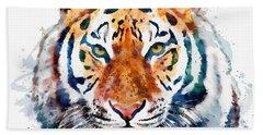Tiger Head Watercolor Hand Towel