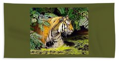 Tiger In The Dundurban Delta Hand Towel