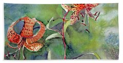 Hand Towel featuring the painting Tiger Lilies by Mindy Newman