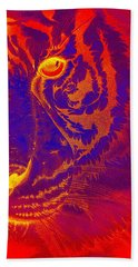 Tiger On Fire Hand Towel by Mayhem Mediums