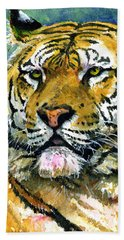 Tiger Portrait Hand Towel by John D Benson