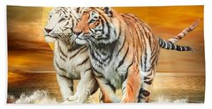 Hand Towel featuring the mixed media Tiger Run by Carol Cavalaris