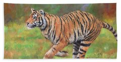 Hand Towel featuring the painting Tiger Running by David Stribbling