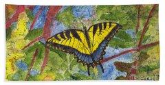 Tiger Swallowtail Watercolor Batik On Rice Paper Bath Towel