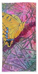 Hand Towel featuring the painting Tiger Swallowtail by Nancy Jolley