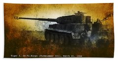Tiger Tank Hand Towel by John Wills