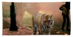 Tiger Walking Down A Snow Slushy Street Bath Towel