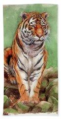 Tiger Watercolor Sketch Bath Towel by Margaret Stockdale