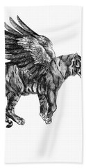 Tiger With Wings, Black And White Illustration Bath Towel