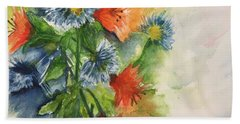 Hand Towel featuring the painting Tigerlilies And Cornflowers by Lucia Grilletto