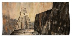 Hand Towel featuring the painting Tikal Ruins- Guatemala by Ryan Fox
