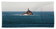 Tillamook Rock Lighthouse On A Calm Day Hand Towel