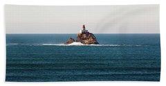 Tillamook Rock Lighthouse On A Calm Day Bath Towel
