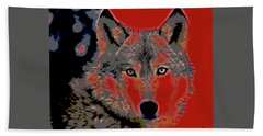 Hand Towel featuring the mixed media Timber Wolf by Charles Shoup