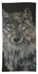 Timber Wolf Hand Towel by Jean Walker