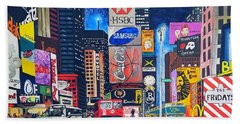Times Square Bath Towel by Autumn Leaves Art