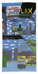 Bath Towel featuring the painting Times Square by Artists With Autism Inc