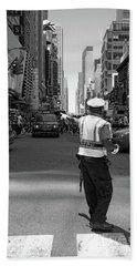 Bath Towel featuring the photograph Times Square, New York City  -27854-bw by John Bald
