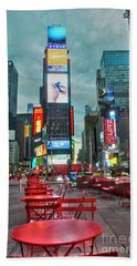 Hand Towel featuring the digital art Times Square Tables by Timothy Lowry