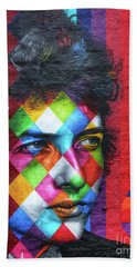 Times They Are A Changing Giant Bob Dylan Mural Minneapolis Detail 1 Bath Towel