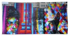 Times They Are A Changing Giant Bob Dylan Mural Minneapolis Fine Art Bath Towel
