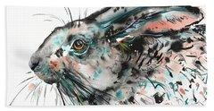 Bath Towel featuring the painting Timid Hare by Zaira Dzhaubaeva