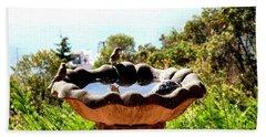 Bath Towel featuring the photograph Tiny Birds Bathing by Sadie Reneau