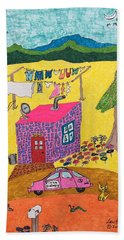 Tiny House With Clothesline Hand Towel