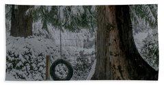 Tire Swing In Winter Hand Towel