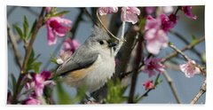 Titmouse And Peach Blossoms Bath Towel