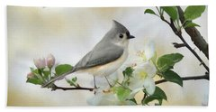 Bath Towel featuring the mixed media Titmouse In Blossoms 1 by Lori Deiter