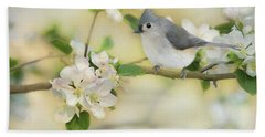 Bath Towel featuring the mixed media Titmouse In Blossoms 2 by Lori Deiter