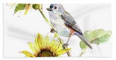 Titmouse With Sunflower Hand Towel
