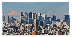 Bath Towel featuring the painting Tokyo City Aerial by PixBreak Art