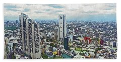 Hand Towel featuring the painting Tokyo City View by PixBreak Art