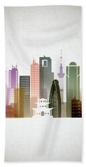 Tokyo  Cityscape Hand Towel by Dim Dom