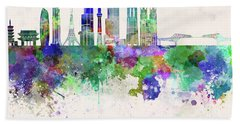 Tokyo V3 Skyline In Watercolor Background Hand Towel by Pablo Romero