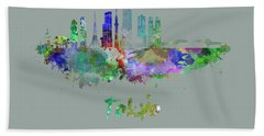 Tokyo V3 Skyline In Watercolor Hand Towel by Pablo Romero