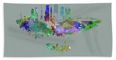 Tokyo V3 Skyline In Watercolor Hand Towel